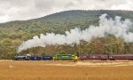 Blue Mountain looms in the background as RBMN takes the fall foliage train eastbound at Millers Crossing